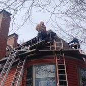 A new roof being installed by Action Roofing in Middlesex County, Massachusetts